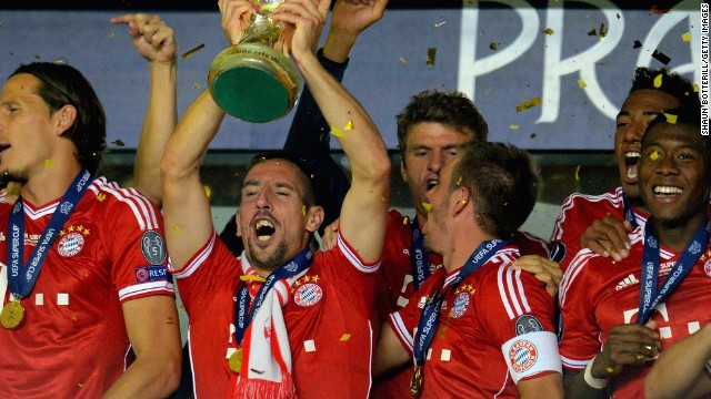 Bayern Munich lift the UFA Super Cup after beating Chelsea in a penalty shoot out in Prague.