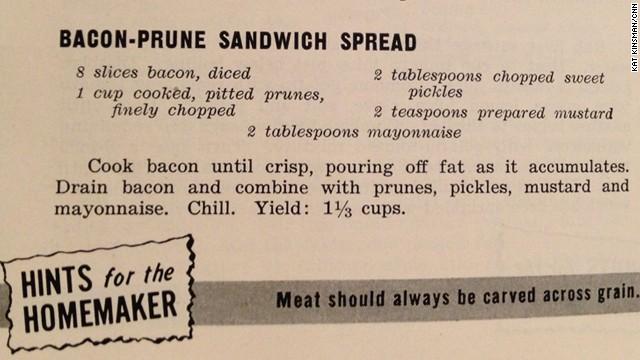 Bacon-Prune Sandwich Spread: The Homemaker's Meat Recipe Book (1949)