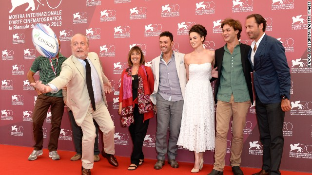 "Producers Aurelio De Laurentiis, left, Elisabetta Bruscolini, director Enrico Maria Artale, actors Margherita Laterza, Lorenzo Richelmy and producer Luigi de Laurentiis attend the ""Il Terzo Tempo"" photo call at the Palazzo del Casino on August 31."
