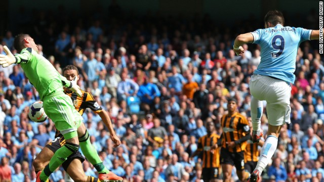 Substitute Alvaro Negredo scored the headed winner for Manchester City against Hull.