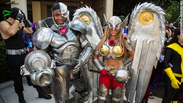 J. Alonzo Clark, left, and Trina Rice of Kansas City, Missouri, are in character as Cyborg and Savage Hawkgirl.