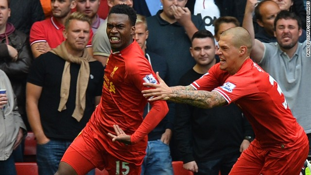 Daniel Sturridge, left, has scored for Liverpool in each of its four games this season.