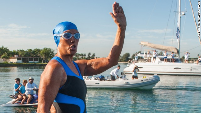 World record breaker in open swimming, Diana Nyad