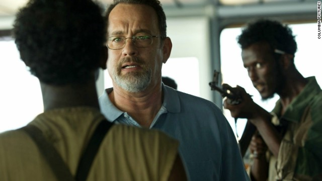 Tom Hanks stars as Captain Richard Phillips and Mahat M. Ali stars as Elmi in