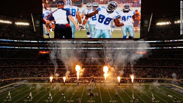 AT&T Stadium, home of the Dallas Cowboys, is Wi-Fi enabled and is home to high-definition LED video displays so large they have twice been struck by balls in play.