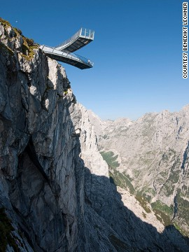 The Alpspitze viewing platform comprises two steel beams, both of which measure 79 feet (24 meters) in length. Visitors brave enough to walk to the end of the glass-walled platforms can look 3,281 feet (1,000 meters) down into the valley.