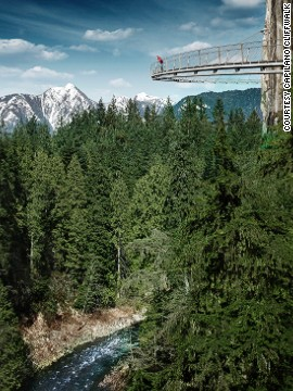 The Cliffwalk is a 700-foot (213-meter) walkway attached to a granite cliff face above the Capilano River in British Columbia. The highest point is 300 feet (90 meters) above the river.