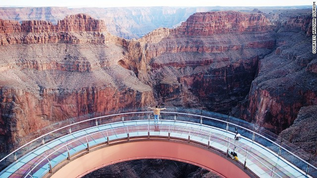 This steel and glass, horseshoe-shaped walkway extends 70 feet (21 meters) over the lip of the Grand Canyon, almost one mile above the valley floor. Apollo astronaut Buzz Aldrin was the first person to step onto the Skywalk, which cost $30 million to build.