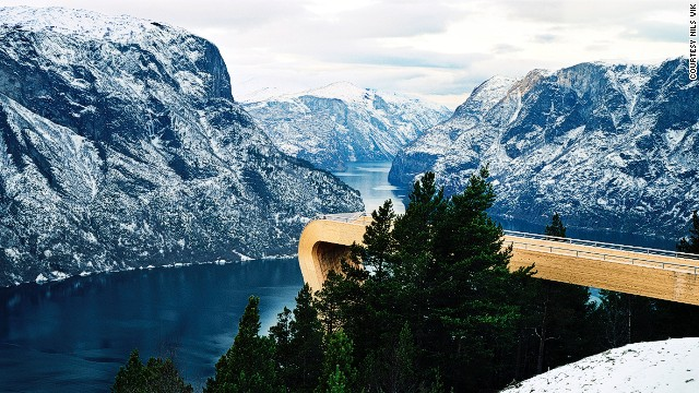 The lookout, commissioned by the Norwegian Highway Department as part of a project to improve the appearance of the country's tourist routes, allows visitors to look straight down into the Aurlandsfjord, 2,000 feet (609 meters) below.