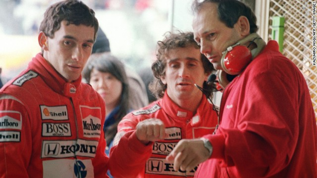 Senna was teamed with his arch-rival Alain Prost at McLaren, shown here with team principal Ron Dennis. The pair shared a fierce rivalry and were involved in a number of controversial collisions as they both vied for the world title.