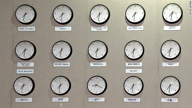Watts, Oslo and Hiroshima share space on Lihu'e Airport's unconventional wall of world clocks.