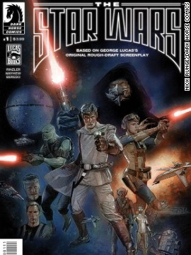 "George Lucas' rough draft script, ""The Star Wars,"" is finally being illustrated in full by Dark Horse Comics. The characters of Lucas' original vision vary in big and small ways from the ones we know and love from ""Star Wars."" For example, Darth Vader wears no helmet here."
