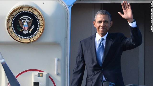President Barack Obama waves arrives in Stockholm, Sweden for a two-day visit.