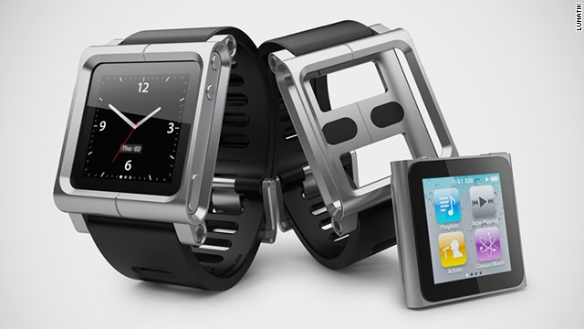Apple's sixth-generation iPod nano was a small, square touchscreen and has since been replaced by the rectangular seventh-generation nano. Spotting the potential to turn the iPod into a watch face, companies such as Lunatik make kits that included mounts and slick straps.