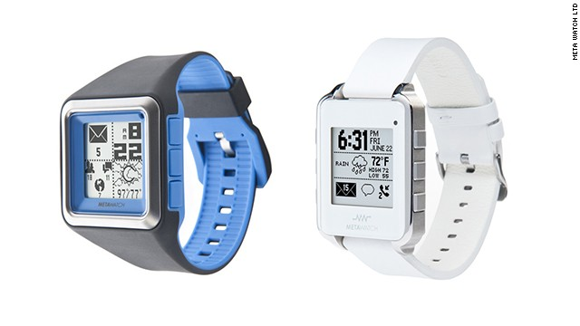 The MetaWatch has a retro-looking, black-and-white screen, but it can connect to newer iPhones in addition to Android devices. It is also a water-resistant sports watch that tracks pace and distance. The watch starts at $179 and is available with various colored bands or in black or white leather.