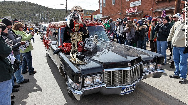 The town of Nederland, Colorado holds an annual three-day festival in honor of their most famous resident: the cryogenically frozen corpse of Bredo Morstl. The hearse parade (pictured) is a highlight of the event.