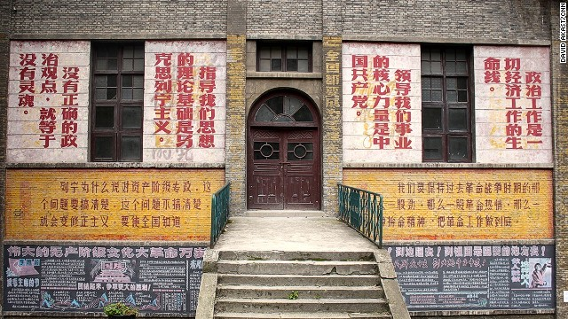Cultural Revolution artwork and slogans can be found on many buildings.