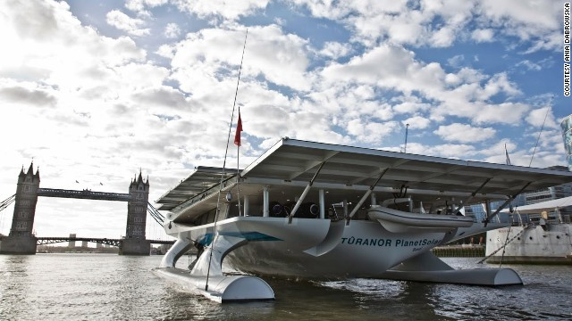 The 35-meter catamaran arrived in London last week, cruising under iconic Tower Bridge on the last stop of a scientific mission across the Atlantic.