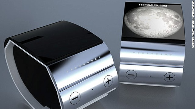 This solar-powered iWatch design by Tolga Tunver has cloud capabilities and syncs with most Apple products. Unlike the other designs it does not have a touchscreen but rather a slim touchpad.