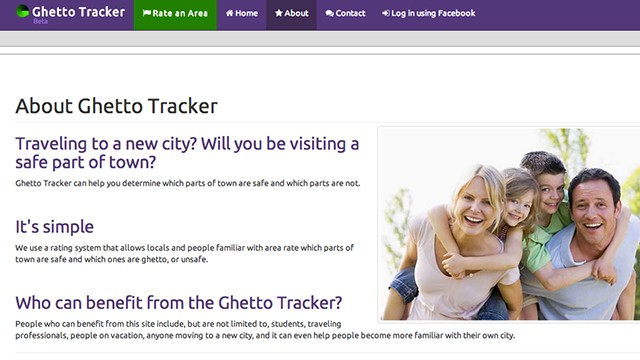This was the original homepage of the site Ghetto Tracker, which has since been renamed Good Part of Town.