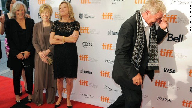 """Tom Berenger shares a laugh with co-stars Meg Tilly, from left, Glenn Close, Mary Kay Place and JoBeth WIlliams before the reunion screening of the 1983 film """"The Big Chill"""" on September 5."""