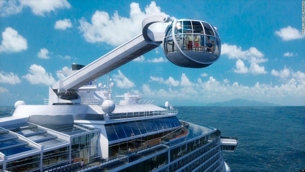 Royal Caribbean's anticipated new ship, <i>Quantum of the Seas</i>, will be unveiled in November 2014. With this glass observation capsule (300 feet above the water), bumper cars and surfwave simulator, it hopes to set a new standard for cruise adventure.