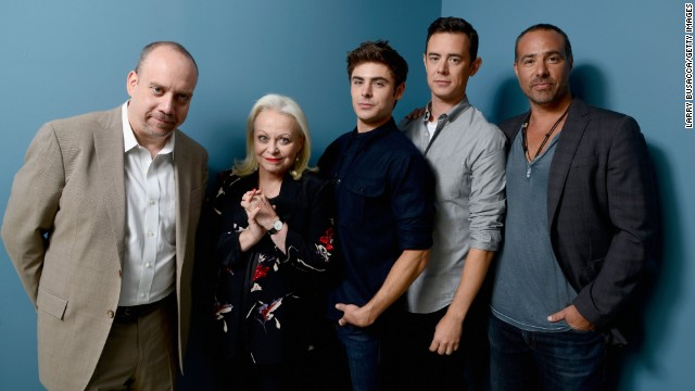 """Actors Paul Giamatti, from left, Jacki Weaver, Zac Efron and Colin Hanks and director Peter Landesman of """"Parkland"""" take a group shot at the Guess Portrait Studio during festival on September 6."""