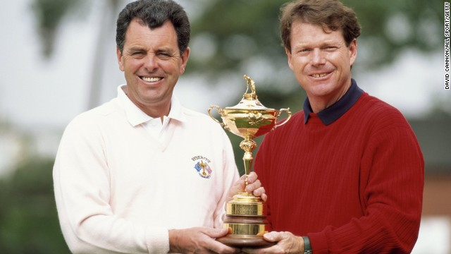 1993 Ryder Cup captains Bernard Gallacher, left, and Watson parade the trophy before the match at The Belfry, which was won by the U.S. team.