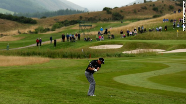 McGinley plays a shot to the third green at Gleneagles in last month's Johnnie Walker Championship, the last major tournament to be staged at the Scottish course until the 2014 Ryder Cup.