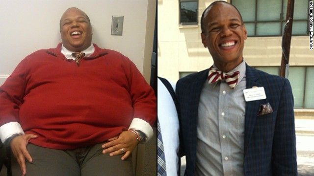 "Marlon Gibson went from 405 pounds to 160 pounds by <a href='http://www.cnn.com/2013/09/09/health/weight-loss-marlon-gibson/index.html'>following the ""three P's.""</a> Now he does two 70-minute spinning class back-to-back without breaking (much of) a sweat."
