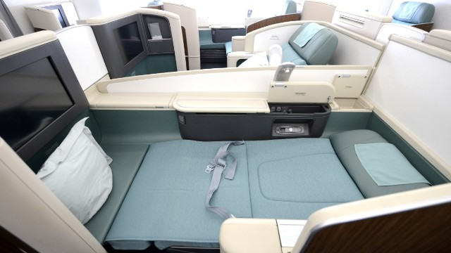 First-class passengers aboard Korean Airlines' A380 have access to these spacious compartments featuring added privacy and lie-flat seats, which certainly will come in handy during a trans-Pacific flight that lasts around 13 hours.