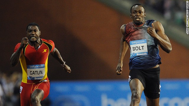 Jamaica's sprint king Usain Bolt (right) claims victory in Brussels, while Diamond League leader Justin Gatlin was fourth.