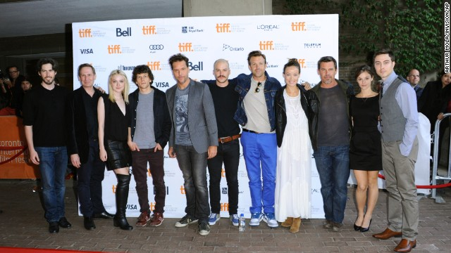 "Jason Reitman, left, Scott Thompson, Dakota Fanning, Jesse Eisenberg, Dane Cook, Marc-André Grondin, Jason Sudeikis, Olivia Wilde, Josh Brolin, Jordan Hayes and Jarod Einsohn arrive at Jason Reitman's live reading of ""Boogie Nights"" on Day Two of the film festival at the Ryerson Theatre on September 6."