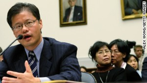 Then-Yahoo CEO Jerry Yang testifies before the U.S. House Foreign Affairs Committee on November 6, 2007.