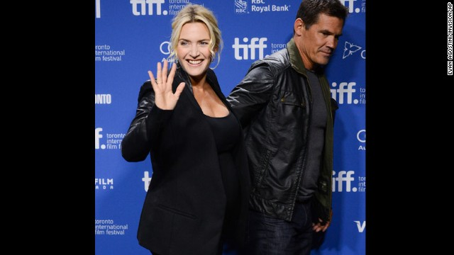 """Actors Kate Winslet and Josh Brolin appear at the press conference for """"Labor Day"""" on Day Three of the film festival on September 7."""