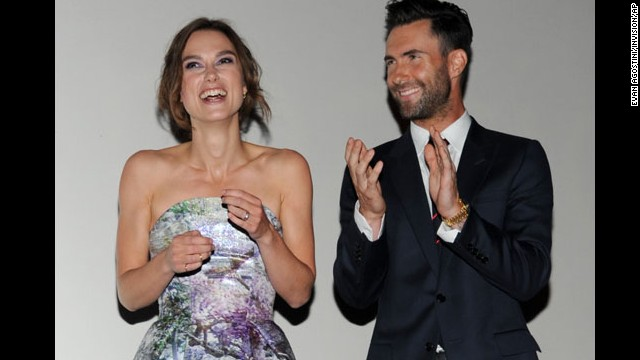 """Keira Knightley and Adam Levine introduce the film """"Can a Song Save your Life?"""" at the premiere on September 7."""