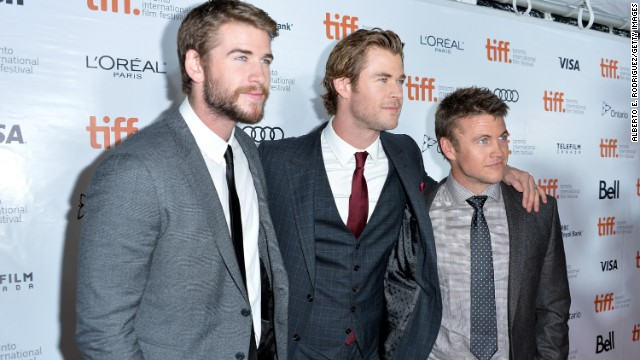 """Actors Liam, from left, Chris and Luke Hemsworth attend the """"Rush"""" premiere during the 2013 Toronto International Film Festival on Sunday, September 8."""