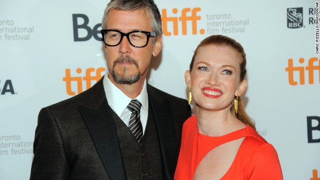 """Mireille Enos, a cast member in """"Devil's Knot,"""" poses with her husband, actor Alan Ruck, at the premiere of the film on September 8."""