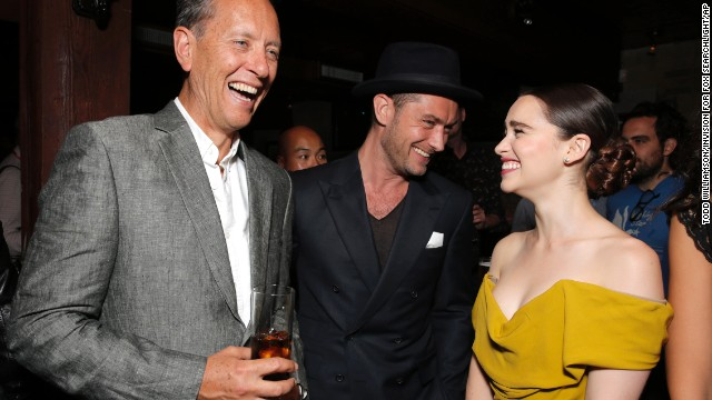 """Actors Richard Grant, from left, Jude Law and Emilia Clarke attend the party for Fox Searchlight's Premiere of """"Dom Hemingway"""" on September 8."""