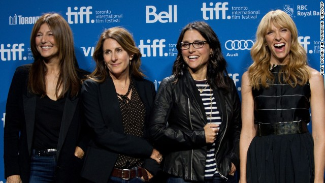 """Actress Catherine Keener, from left, director Nicole Holofcener and actresses Julia Louis-Dreyfus and Toni Collette pose for a picture at the photo call for """"Enough Said"""" on September 8."""