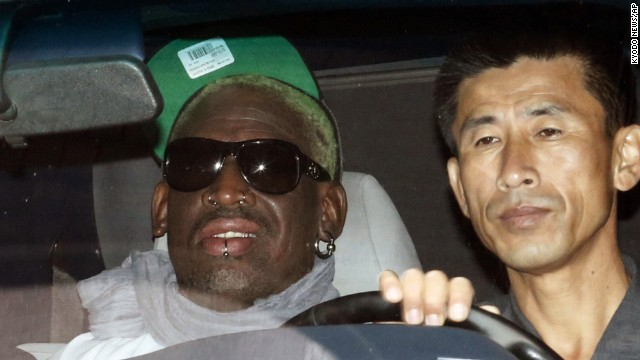 Rodman rides to the Pyongyang airport on September 7 after his five-day trip to North Korea.