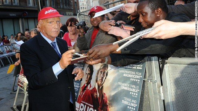 "Lauda attends the world premiere of ""Rush"" at London's Leicester Square. ""I was happy to stay alive,"" he says of the crash at the Nurburgring. ""Normally you get killed in this kind of accident. Then it was clear that the challenge now is to see can you ever comeback ... So I fought my way back five weeks later in Monza. I only had Hunt as a target and make sure he will not win the championship."""