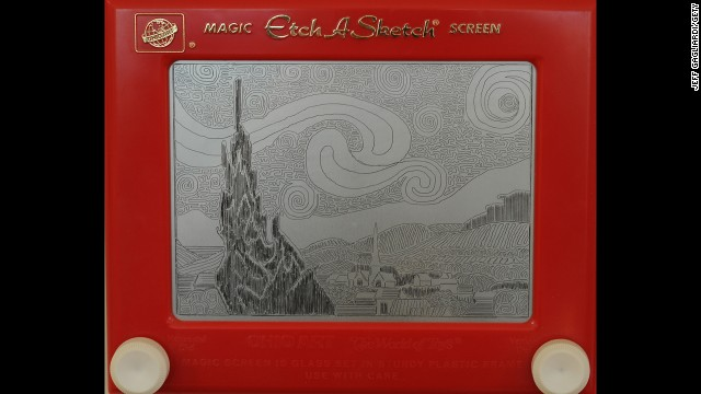 "Van Gogh's ""Starry Night"" recreated on an Etch-A-Sketch by artist Jeff Gagliardi in 2008."