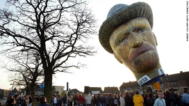 Although it's been over 120 years since the death of Vincent van Gogh, people are still inspired by the intriguing and prolific post-Impressionist Dutch painter. A hot air balloon designed was constructed in his image for his birthday celebrations in Zundert, Netherlands, in March 2003.