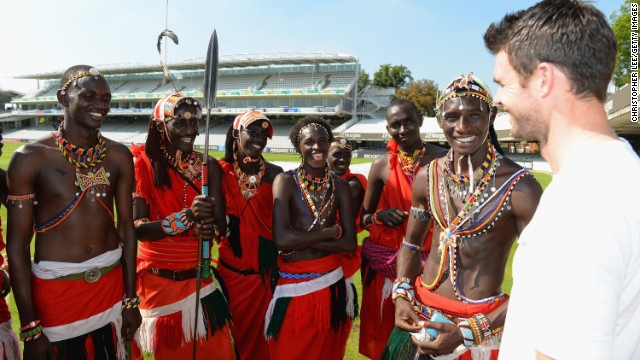 England cricket star James Anderson meets the Maasai Cricket Warriors team during the Last Man Standing finals at Lords on September 4 in London.