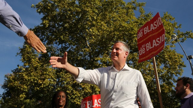 Front-runner Bill de Blasio, campagining Monday in Brooklyn, could win the Democratic primary for mayor without a runoff.