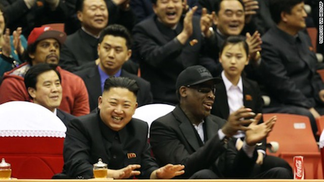 "On an earlier visit, Rodman and Kim watch a basketball game together in this image released by HBO for an episode of the documentary series ""Vice"" which aired in June."