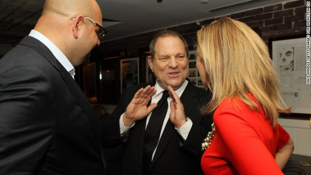 """Harvey Weinstein, center, attends the """"August: Osage County"""" party on September 9."""
