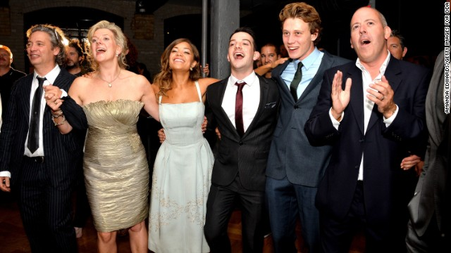 """Director Dexter Fletcher, from left, producer Arabella Page Croft, actors Antonia Thomas, Kevin Guthrie and George MacKay and writer Stephen Greenhorn attend the premiere of their movie """"Sunshine on Leith"""" on September 9."""