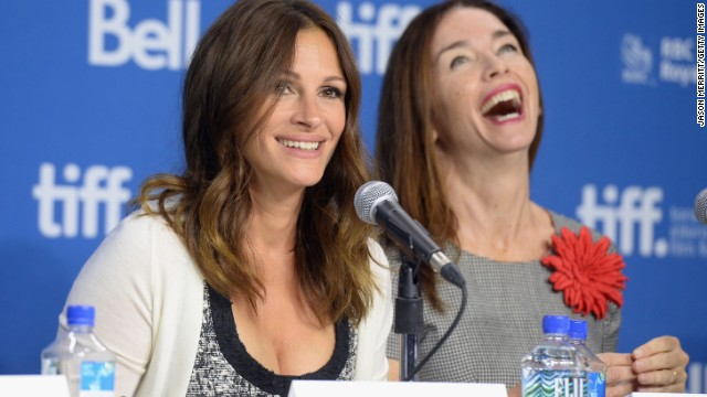 """Julia Roberts, left, and Julianne Nicholson face the media at a press conference for their movie """"August: Osage County"""" on Tuesday, September 10."""